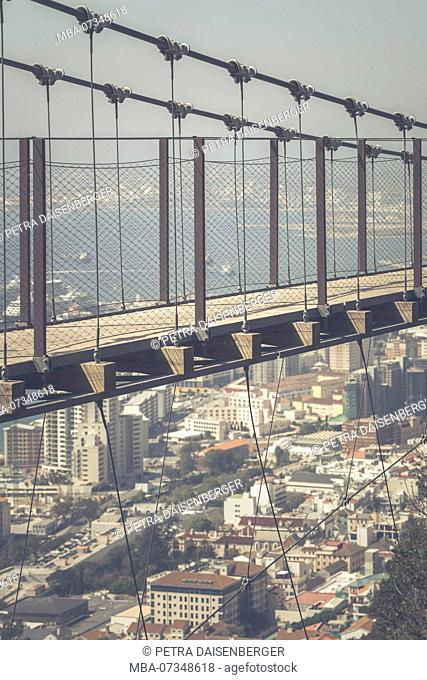 The suspension bridge on the Rock in Gibraltar, jewel and British enclave at the Mediterranean Sea