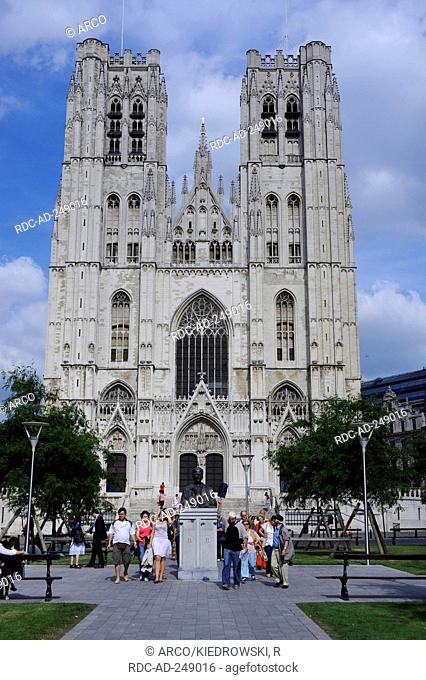 St. Michael and Gudula Cathedral Treurenberg hill Brussels Belgium Cathedrale St Michel et Gudule Gothic