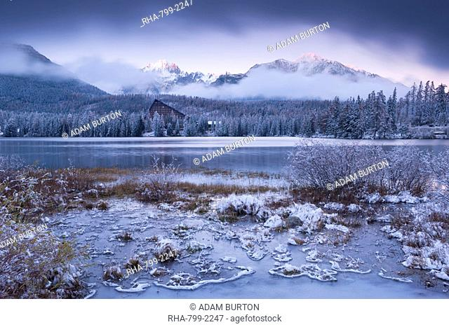 Winter snow and ice at Strbske Pleso in the High Tatras in winter, Slovakia, Europe