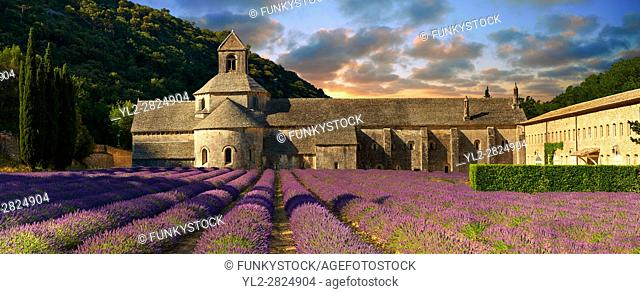 The 12th century Romanesque Cistercian Abbey of Notre Dame of Senanque ( 1148 ) set amongst the flowering lavender fields of Provence near Gordes, France