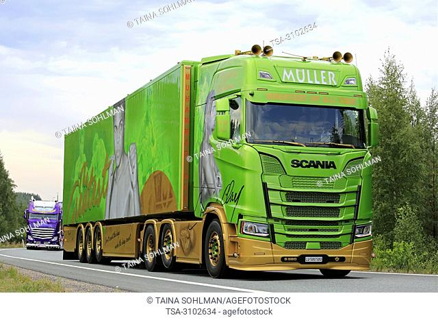 LEMPAALA, FINLAND - AUGUST 9, 2018: Mohammad Ali themed Scania S580 semi trailer of Franz Muller Ermensee Ag in truck convoy to Power Truck Show 2018