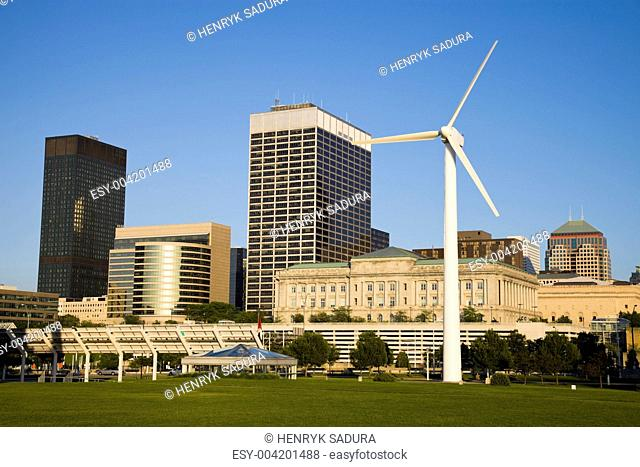 Wind turbine in downtown Cleveland