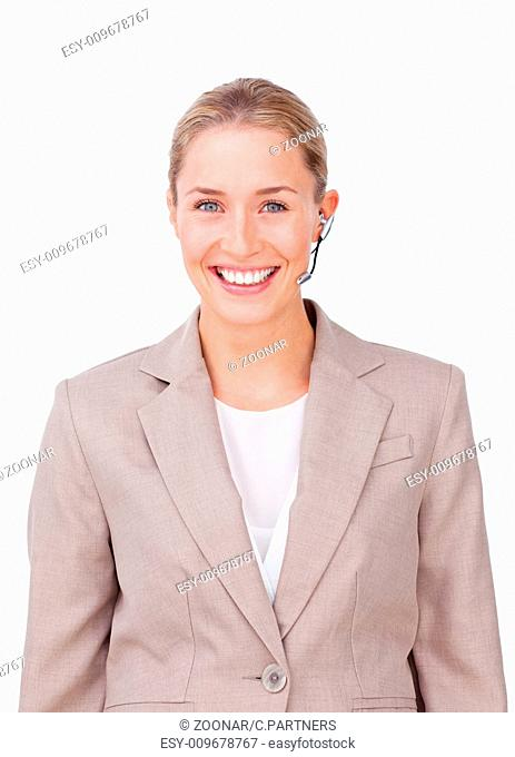Glowing customer service representative using headset against a white background