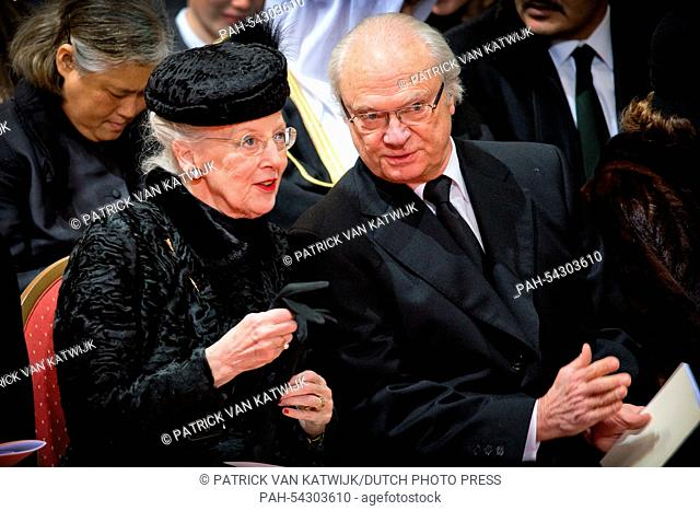 Queen Margrethe of Denmark and King Carl Gustaf of Sweden attend the funeral of Belgian Queen Fabiola at the Cathedral of St. Michael and St