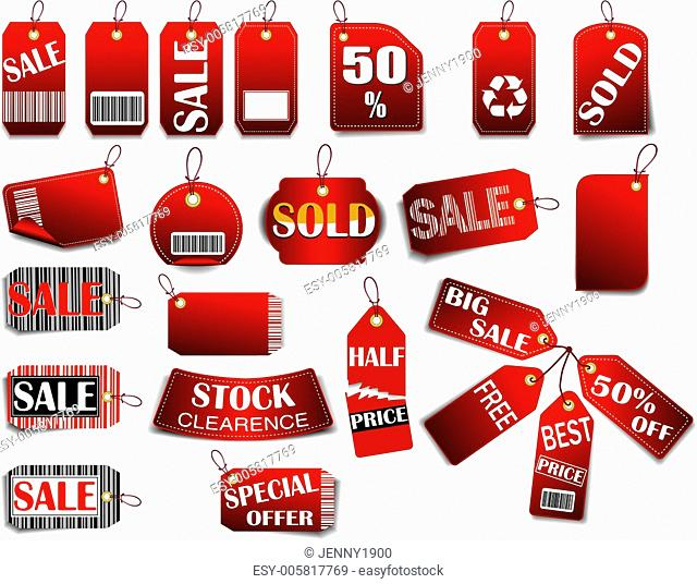 Set of price red tags