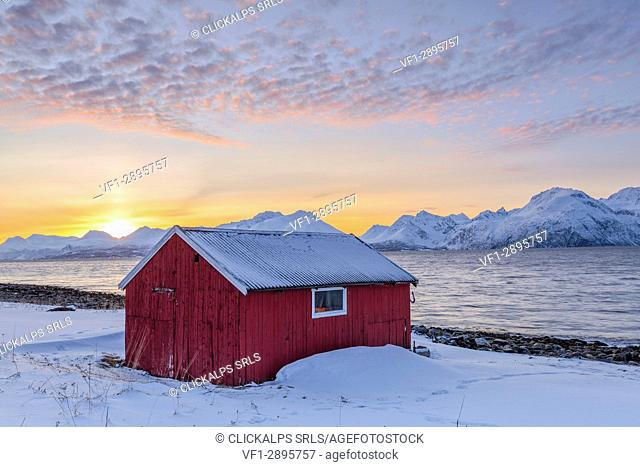 Traditional red fisherman's house. Nordmannvik, Kafjord, Lyngen Alps, Troms, Norway, Lapland, Europe
