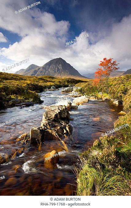 A stream runs through an autumnal Rannoch Moor towards Buachaille Etive Mor, Highlands, Scotland, United Kingdom, Europe
