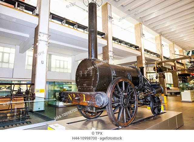 England, London, Kensington, Science Museum, Stephenson's Rocket Locomotive dated 1829