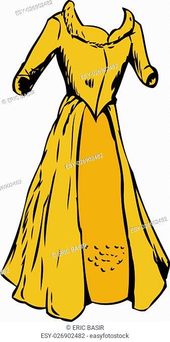 Single empty 18th century fashion dress with open robe