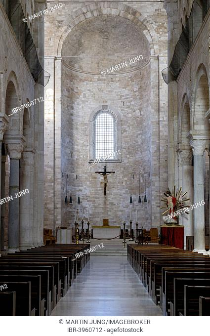 Nave of the upper church with transept and apse, Romanesque-style Norman Church, cathedral by the sea, Trani Cathedral, Cattedrale di San Nicola Pellegrino