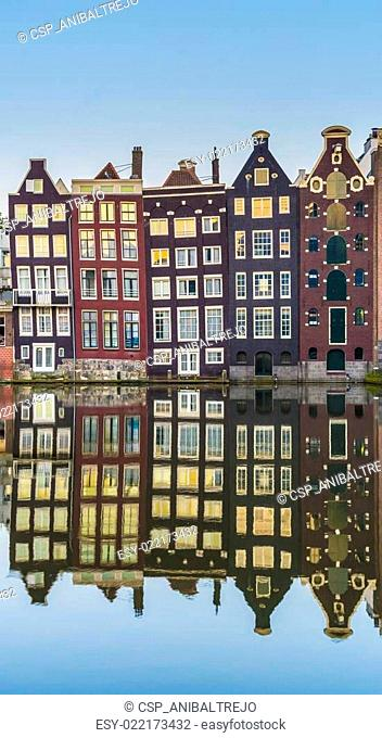 The Damrak canal in Amsterdam, Netherlands