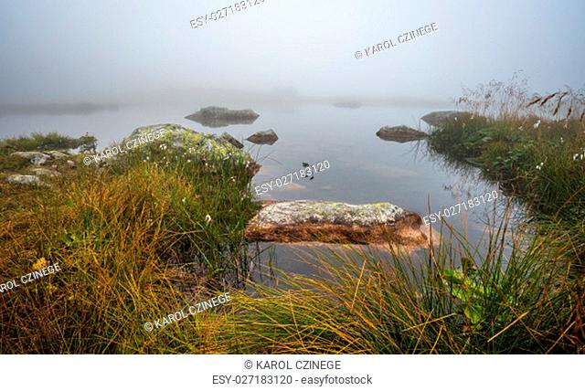 Small Tarn with Rocks on Foggy Morning