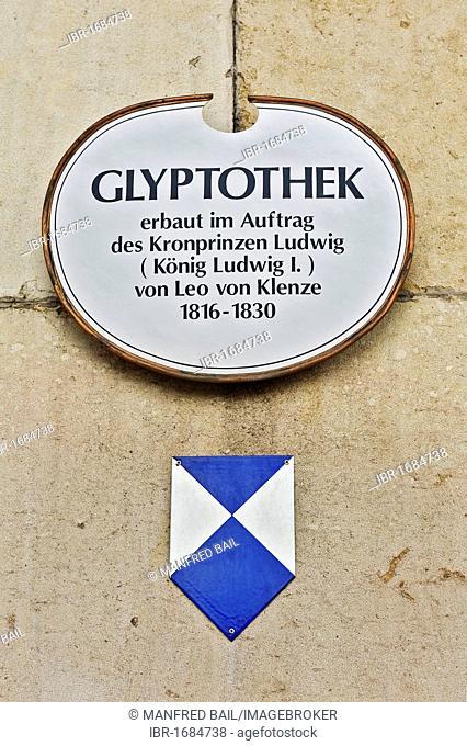 Sign, Glyptotek, Munich, Bavaria, Germany, Europe