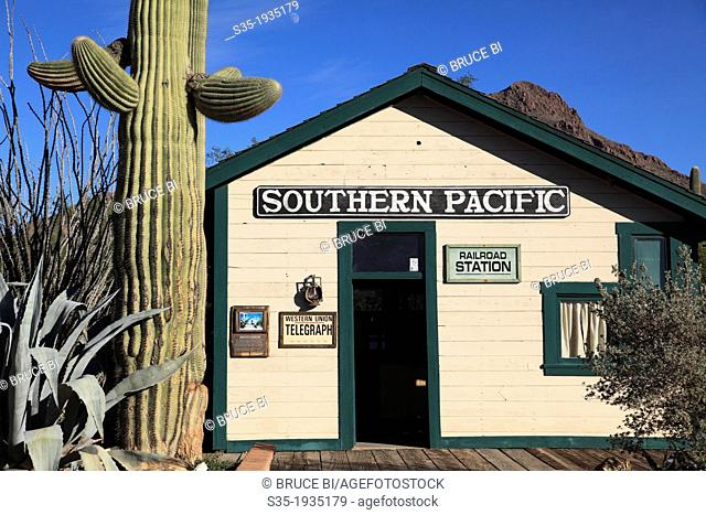 Railroad station building in Old Tucson Studios. Tucson. Arizona. USA