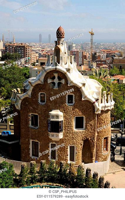 Building in Antoni Gaudis Parc G�ell, Barcelona Spain