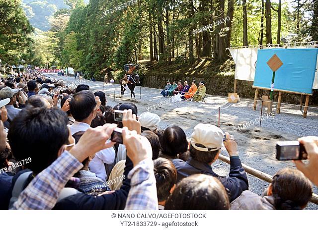 Yabusame - Mounted traditional Japanese archery - exhibition at Toshogu Shrine, Nikko