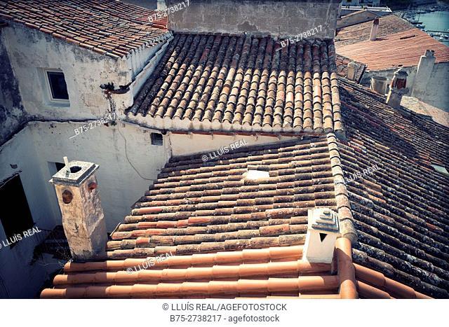 Roof tiles. Mahó, Balearic Islands, Spain