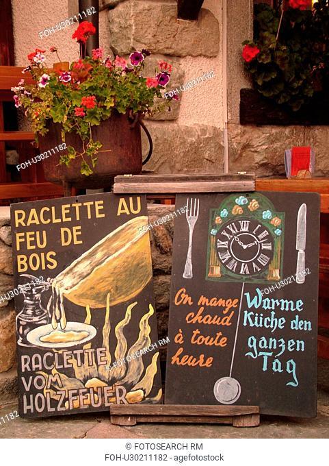 Switzerland, Europe, valais, wallis, Val d'Anniviers, Grimentz, restaurant, Raclette cheese dinner special, menu