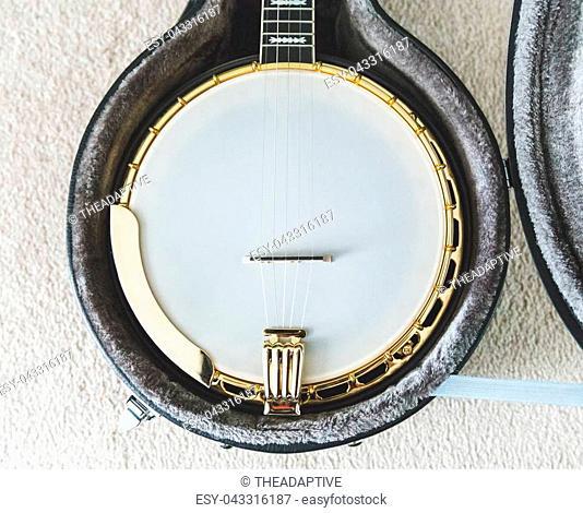 High-value banjo in custom hard case. Banjo has mahogany body and gold accents