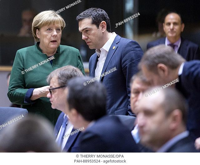 March 10, 2017. Brussels, Belgium: German Chancellor Angela Merkel (L) is talking with the Greece Prime Minister Alexis Tsipras during an EU chief of state...