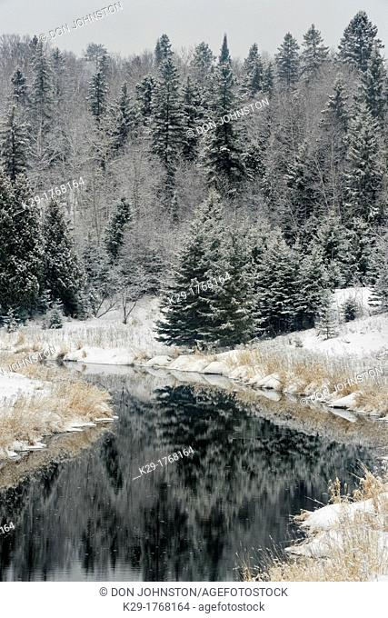 Junction Creek in early winter, Greater Sudbury Lively, Ontario, Canada