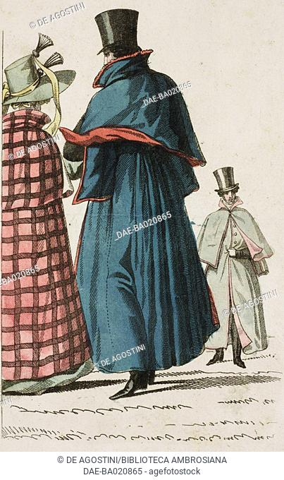 Woman and men wearing coats and hats, plate 67, French Fashions, Il Corriere delle Dame, 1827