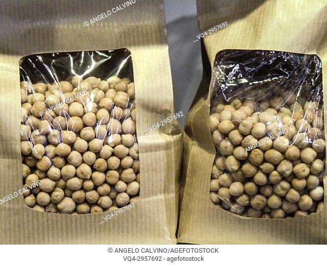 Sealed Packages of Dried Chickpeas