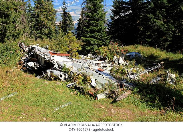 The remains of aircraft disaster from WWII at peak Slemä in Nizke Tatry, Slovakia  The airplane was LI-2, all 18 passengers died