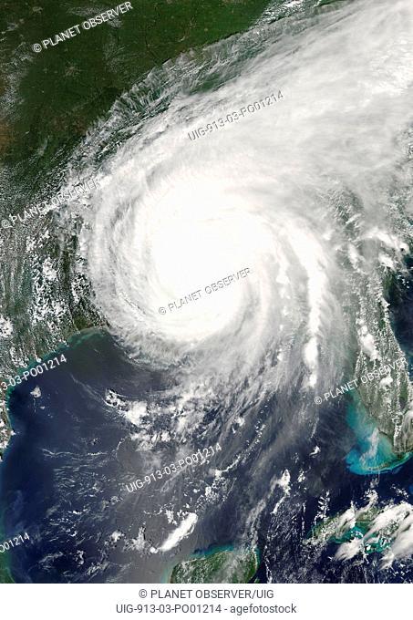 Hurricane Katrina, Louisiana, Us, On 29/08/2005, True Colour Satellite Image. Hurricane Katrina on 29 August 2005 over southeast Louisiana, US