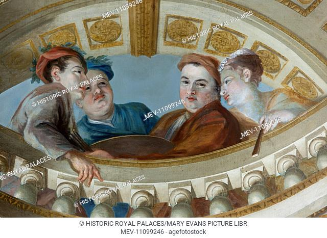 The King's Staircase ceiling, showing William Kent with his mistress, Elizabeth Butler, and two of his assistants