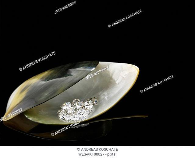 Diamonds in seashell
