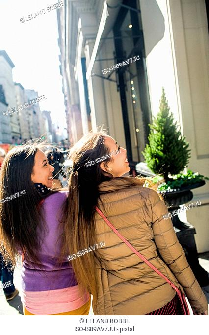 Rear view of young female adult twins window shopping in city