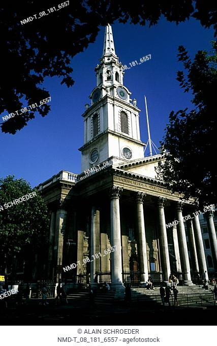 Low angle view of a church, St  Martin-In-The-Fields, Trafalgar Square, London, England