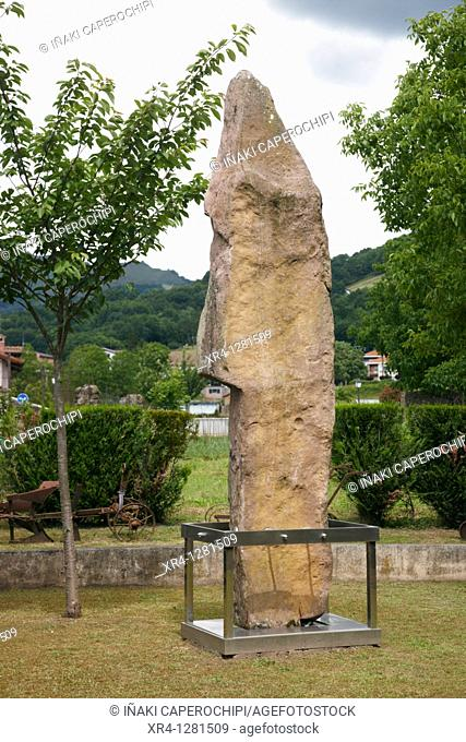 Menhir of Soalar, Jorge Oteiza Ethnographic Museum, Baztan Valley, Elizondo, Navarra Nafarroa, Spain España