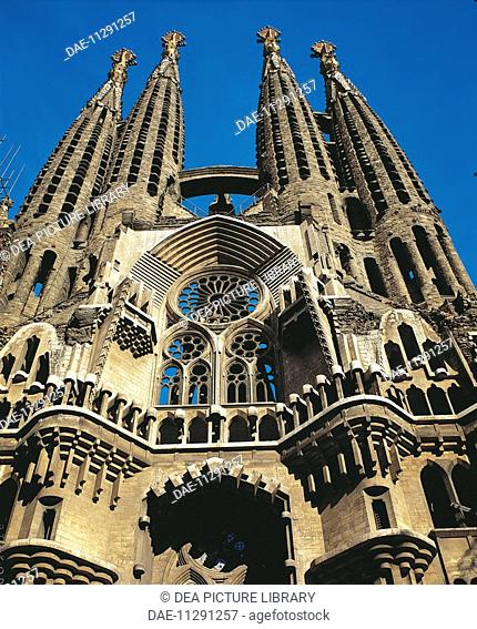Temple of Charity of the Sagrada Familia, Barcelona (UNESCO World Heritage List, 1984), by architect Antoni Gaudi. Spain. 20th century
