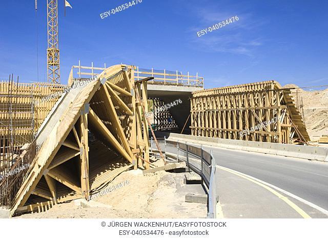 Bridge construction, wooden scaffolding on the road B207, Heiligenhafen, Baltic Sea, Schleswig-Holstein, Germany, Europe