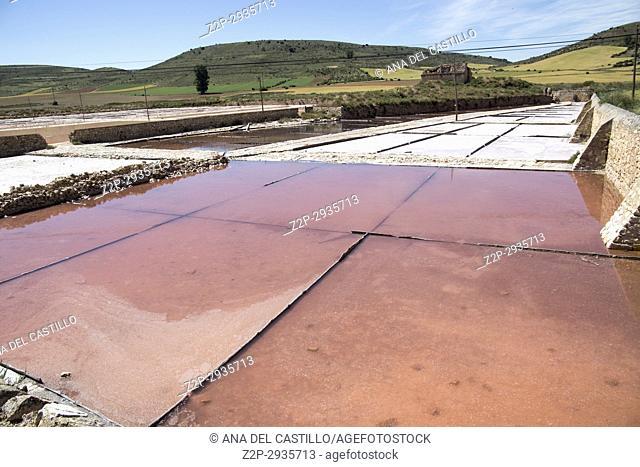 Old salt fields in Imon Guadalajara province Castile La Mancha Spain on June 13, 2017
