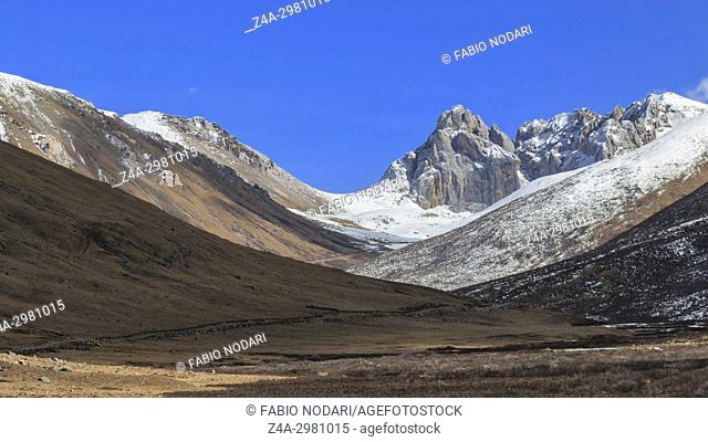 Panoramic Mountain Tibetan Himalayan landscape in SiChuan province, China