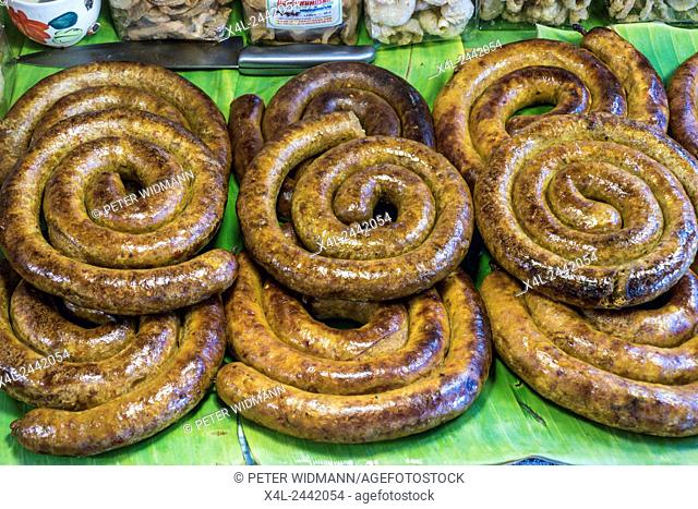Grilled Sausage in a market near Lampang, Northern Thailand, Thailand, Asia