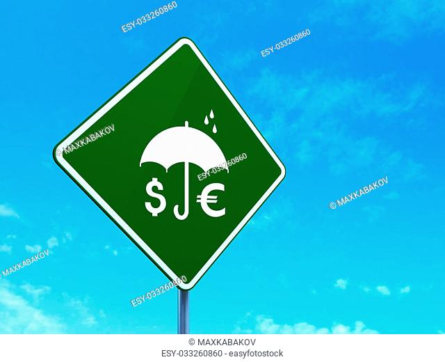Protection concept: Money And Umbrella on green road (highway) sign, clear blue sky background, 3d render