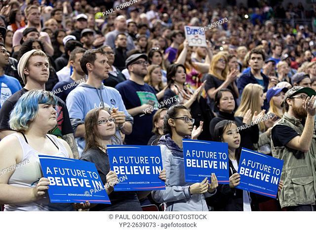 Seattle, Washington: A Future to Believe in Rally featuring Senator Bernie Sanders at Key Arena in Seattle. Bernie Sanders is the junior United States Senator...