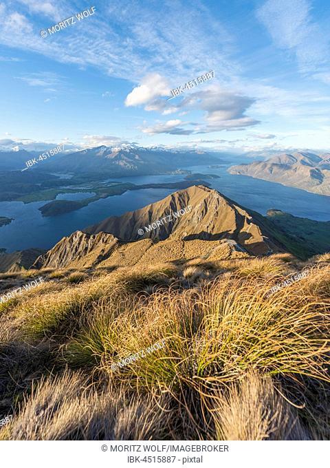 View of mountains and lake, Roys Peak, Lake Wanaka, Southern Alps, Otago Region, Southland, New Zealand