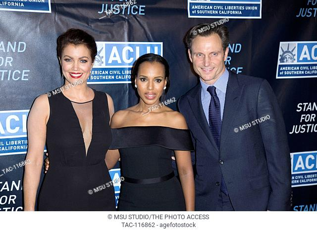 Bellamy Young, Kerry Washington and Tony Goldwyn attend 2015 ACLU of Southern California Bill Of Rights Dinner at Beverly Wilshire Hotel on November 8