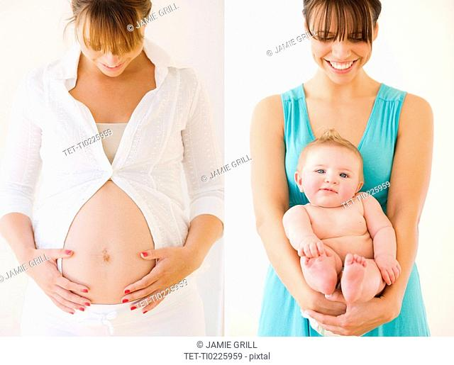Pregnant woman next to mother holding baby