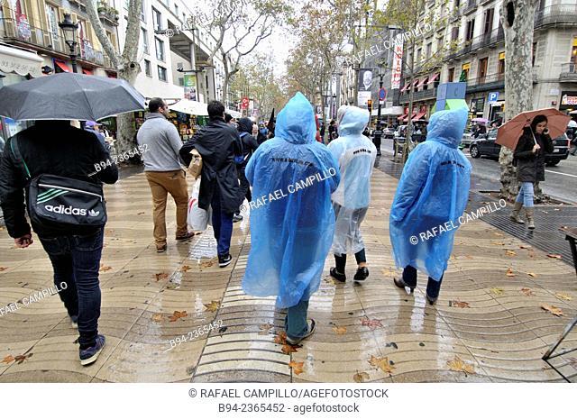 La Rambla on a rainy day, Barcelona, Catalonia, Spain