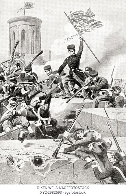 United States Marines storming Chapultepec castle, Mexico city, under an American flag during the Mexican-American War in 1847