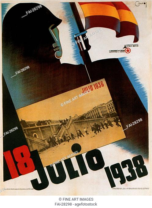 July 18, 1938 by Anonymous /Colour lithograph/Social and political posters/1838/Spain/Private Collection/Poster and Graphic design/Poster/18