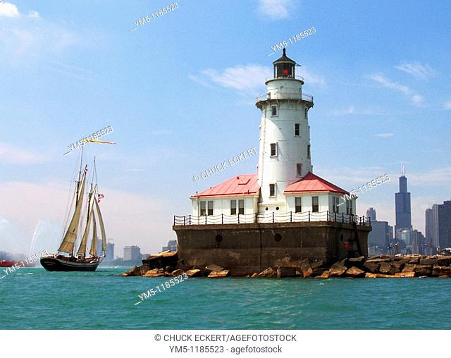 Historic Chicago Lighthouse & Tall Ship, Chicago, Illinois, USA / Lake Michigan