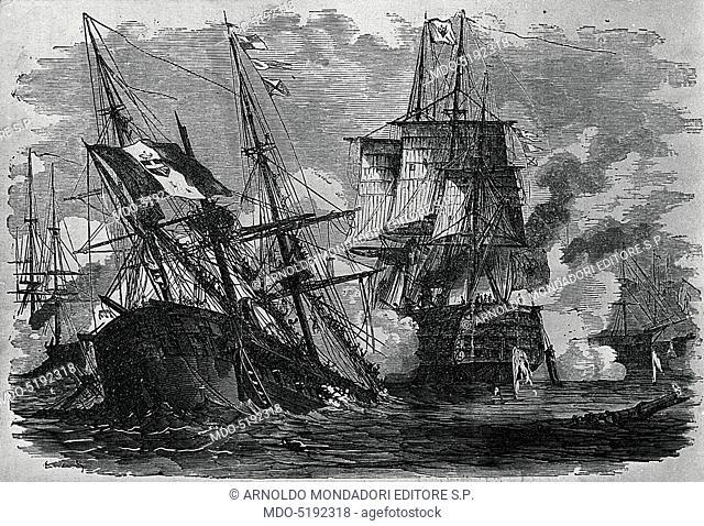 Sinking of the Re d'Italia (L'inabissamento della Re d'Italia), 19th Century, engraving