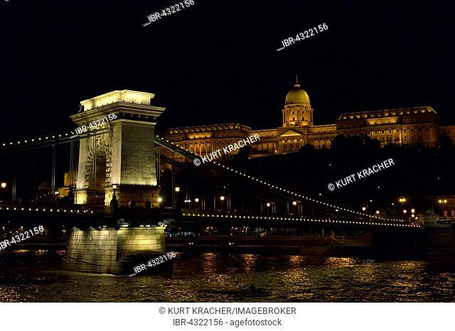 Buda Castle and Chain Bridge at dusk, Budapest, Hungary